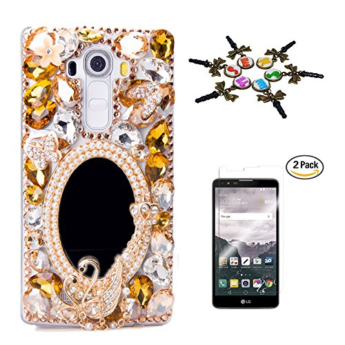 LG Stylo 3 Case, STENES 3D Handmade Luxury Crystal Sparkle Rhinestone Cover for LG Stylo 3/Stylo 3 Plus/LG LS777 with Screen Protector & Anti Dust Plug - Girls Mirror Butterfly Swan Flower / Champagne (Wine Case Crystal)