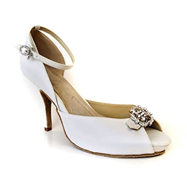 107dbf25d2 Amazon.com: ANGELA NURAN Starletta white luxe pumps - dyeable (11 ...