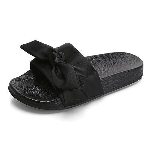 85c7871f89d4c2 Leroyca Women Slippers Cute Bow Silk Rubber Slides Flip Flop Sandals Beach  Shoes Black 6