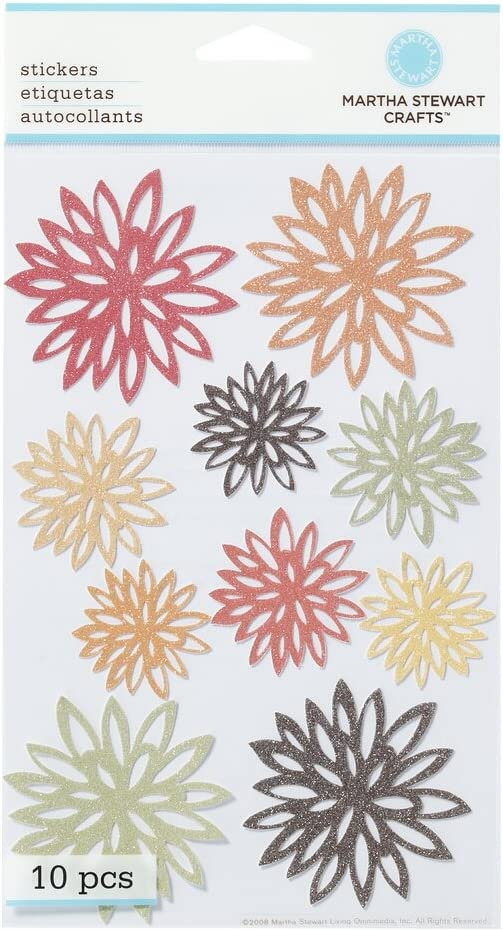 Amazon Com Martha Stewart Crafts Stickers Glittered Fall Chrysanthemum
