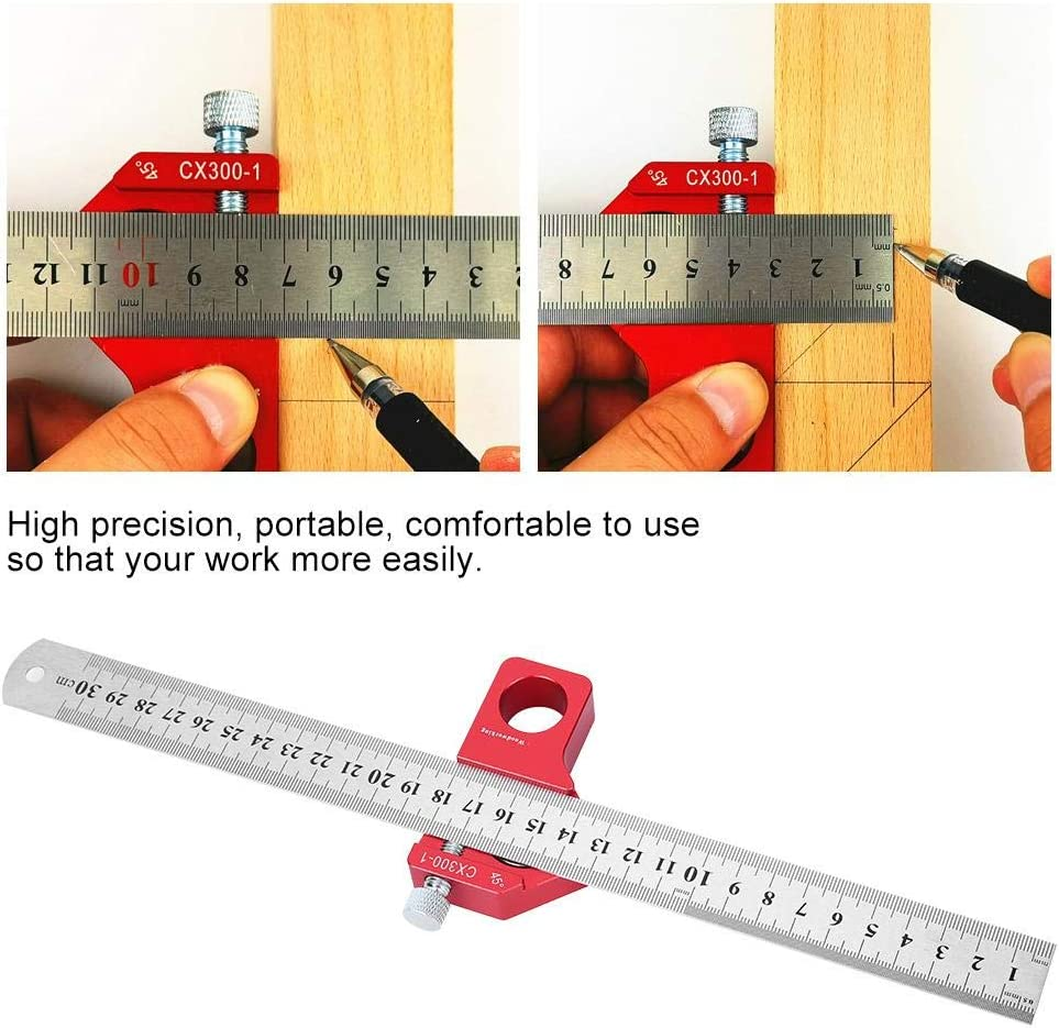CX300-1 Adjustable Combination Square Set Woodworking Scribing Ruler 300MM//11.81in Portable Straight Measure Marking Tool