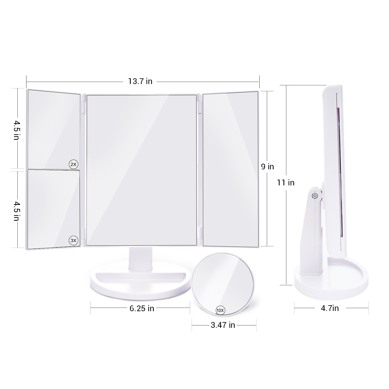 Espejos de Maquillaje, OliviviI Espejo Cosmético con luminacíon 24 Led Aumento 10x / 3x / 2x, LED Espejos Triple Plegables con Pantalla Táctil Carga con USB o Batería, Espejo de Mesa Rotación Ajustable de 180 °