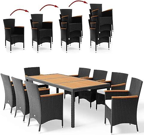 Deuba | Salon de Jardin - Ensemble 8+1 en polyrotin • Noir | 8 chaises  empilables • Table et accourdoirs en Bois d\'acacia • résistant aux  intempéries ...