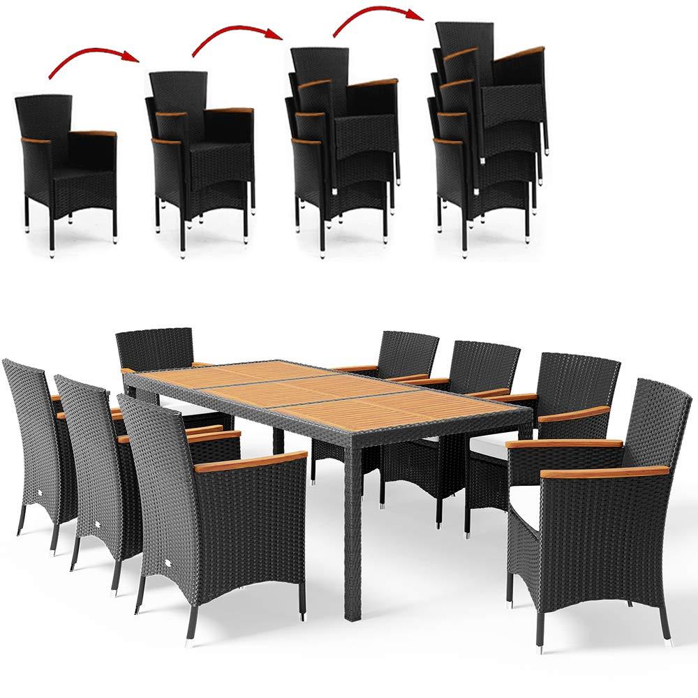 Casaria Poly Rattan Sitzgruppe Schwarz 7cm Dicke Auflagen 8 Stapelbare Stühle Tisch & Armlehnen aus Holz Gartenmöbel Set