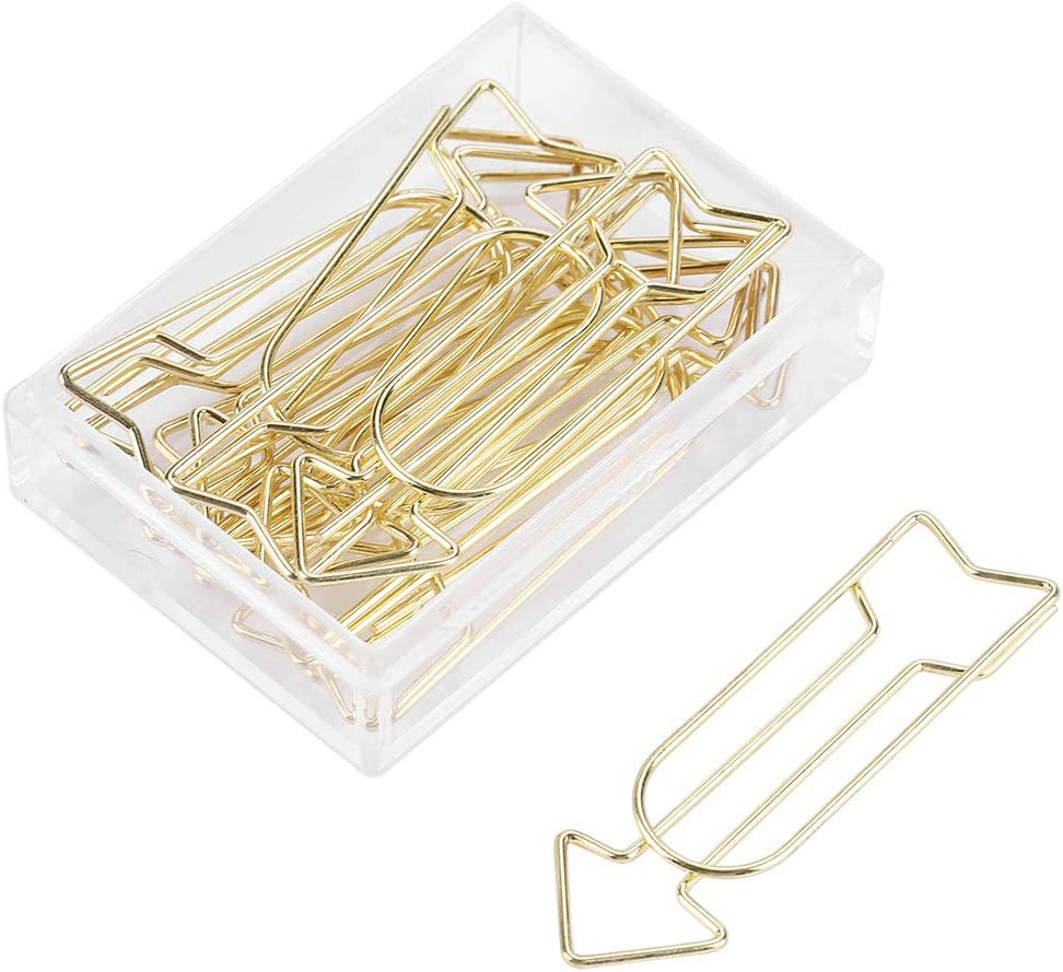 Paper Clip, 12Pcs Electroplating Metal Arrow Shaped Paperclips Bookmark Clip Funny Stationery Marking Clip for Office School and Personal Use Gold New
