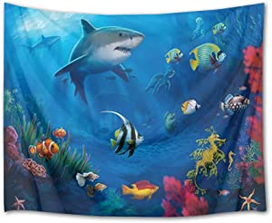 HVEST Shark Tapestry Tropical Fish Undersea World Tapestry Wall Hanging Ocean Animals Tapestries for Bedroom Living Room Dorm Party Decor, 92.5Wx70.9H inches