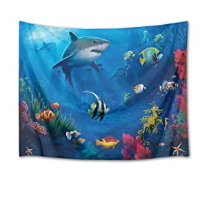 HVEST Marine Life Tapestry Shark Fish and Turtle Under Blue Deep Sea Wall Hanging Ocean Tapestries for Bedroom Living Room Dorm Party Decor,60Wx40H inches