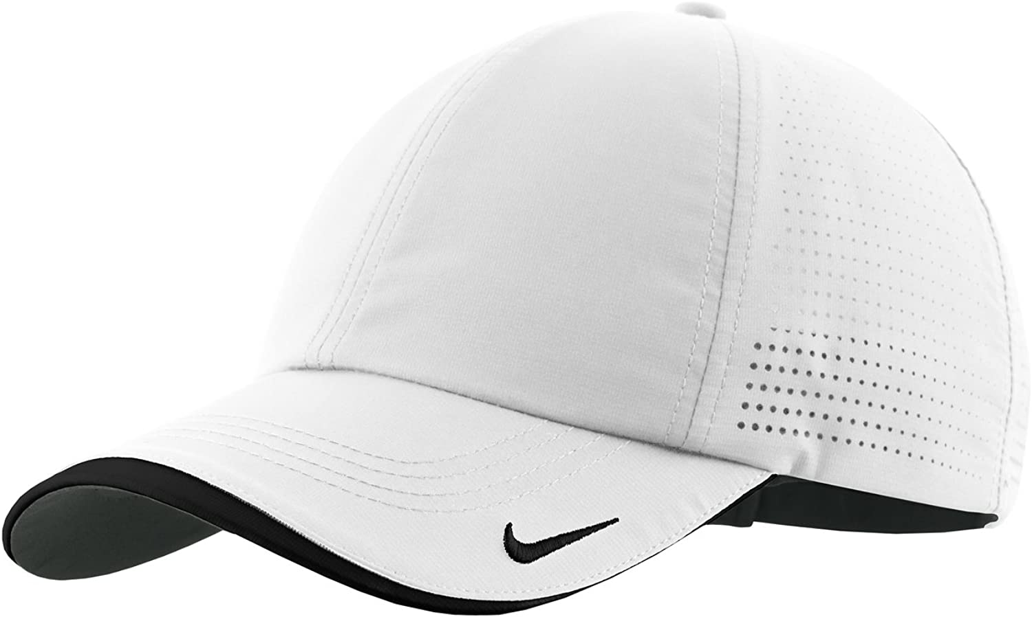 Nike Authentic Dri-FIT Low Profile Swoosh Embroidered Perforated Baseball Cap - White: Clothing