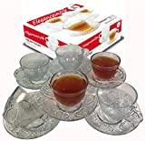 Eleganceinlife Cup and Saucer Set Glass Tea Coffee Cup Glass Saucer 12 Piece Cup and Saucer Set