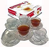 Eleganceinlife Cup and Saucer Set Glass Tea Coffee Cup Glass Saucer 12 Piece Cup and Saucer Set