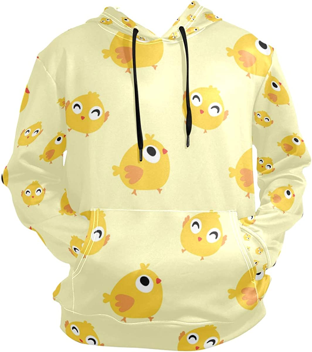 Funny Yellow Duck Mens Hoodie Sweatshirt Casual Drawstring Pullover