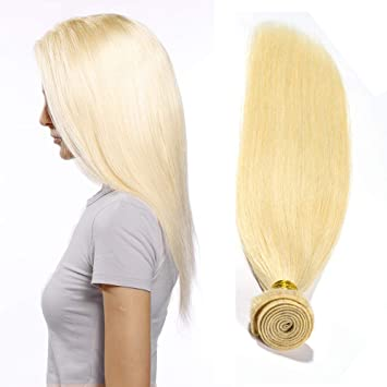 Extensiones de Cabello Natural Cortina Pelo Natural Humano Brasileño Virgen 100% Remy Blonde Human Hair Bundles Liso Suave Invisible ...