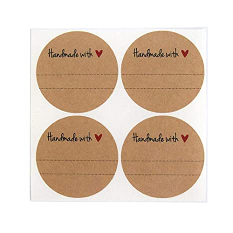 """Amazon.com: Handmade with Love Labels with Red Heart Design by Once Upon Supplies, Canning Mason Jar Labels Stickers, 2"""" Size for Regular Mouth Jars, ..."""