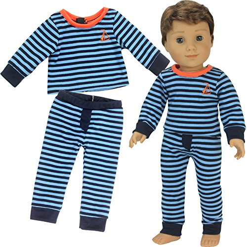 Sophia's 18 Inch Boy Doll Pajamas Blue Striped PJ Top and Bottoms for Dolls