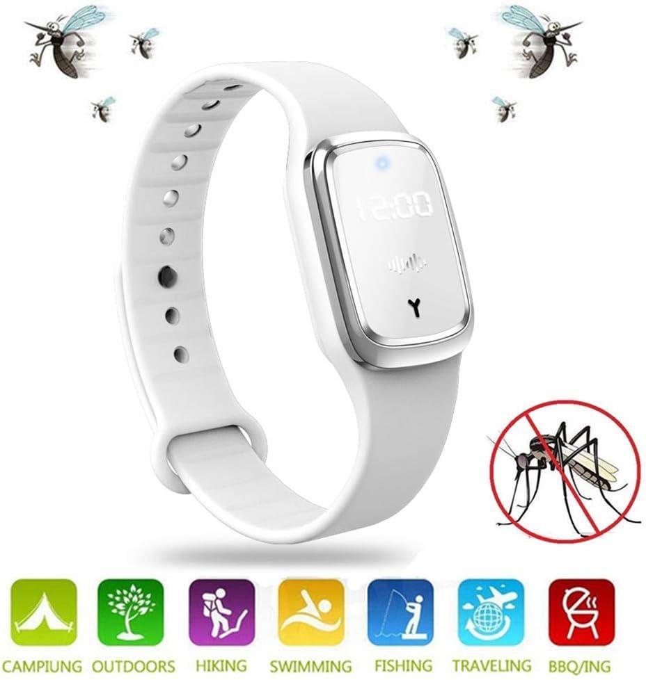 MENGZF Pulseras Repelentes de Mosquitos Ultrasonido Antimosquitos Reloj Electrónico Bandas Repelentes de Insectos Plagas con Carga USB/Impermeable/Portátil, Apto para Adultos y niños