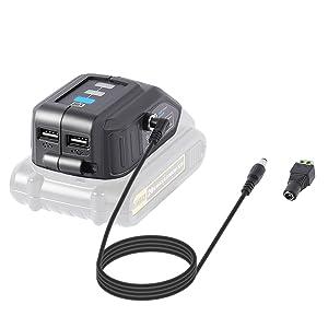 LANMU Battery Adapter for Dewalt 18V/20V Lithium Ion Battery,TS100 Soldering Iron,USB Charger for Dewalt,Power Source,Power Supply for Dewalt DCB090 DCB091