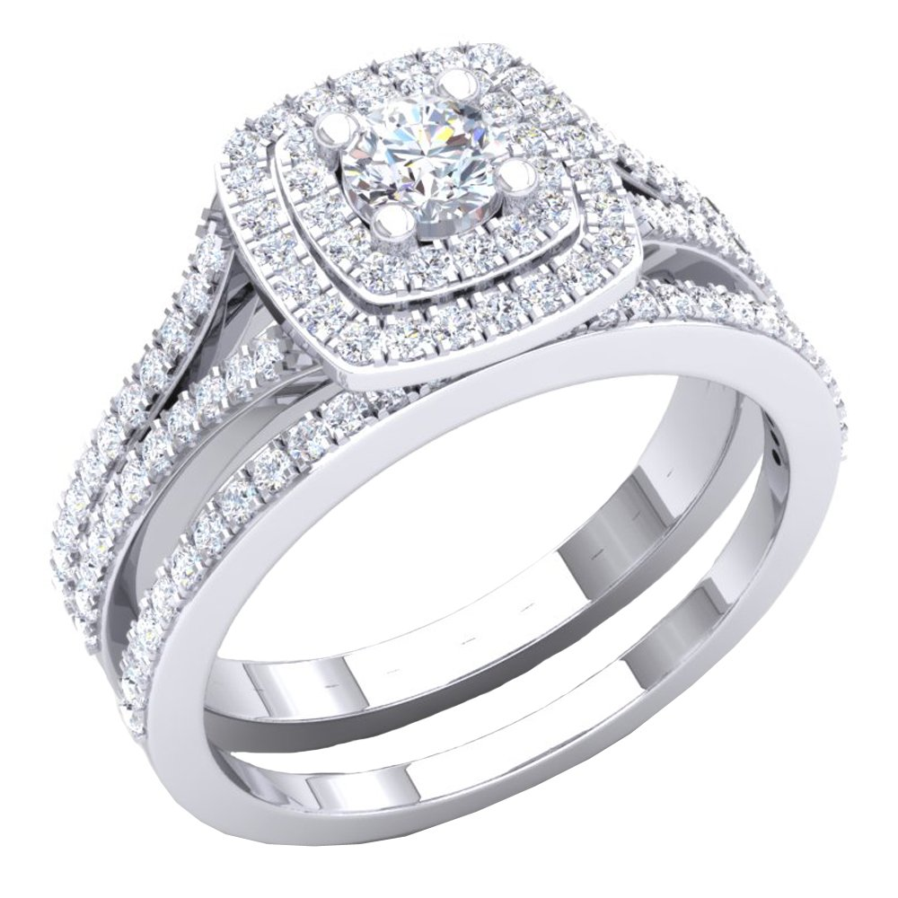 Dazzlingrock Collection 1.50 Carat (ctw) 10K Round Cubic Zirconia Ladies Engagement Ring Set 1 1/2 CT, White Gold, Size 5.5