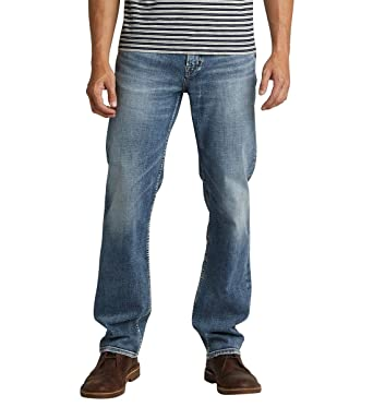 ca665c38 Silver Jeans Co. Men's Grayson Easy Fit Straight Leg Jeans, Performance  Stretch Medium,