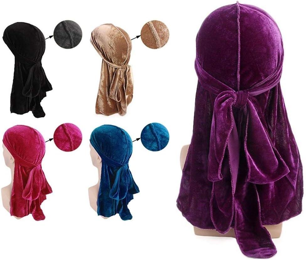 YUNGYE Unisex Hombres Mujeres Velvet Turban Cap Doble Color Bandana Hat Headwear Headwrap Gorros Skullcap Color : Blue, Size : One Size