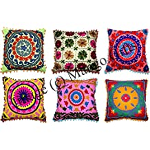 Mango Gifts Handmade Embroidered Floral Cushion Covers Multi-Color Lot Of 10 Pieces Inches Ethinic Decor