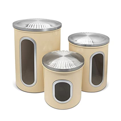 Fortune Candy Airtight Window Kitchen Canister, Stainless Steel Canisters  Sets with Fingerprint Resistance Lid, Set of 3 (Pale Yellow)