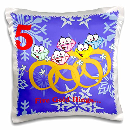 (3dRose pc_158230_1 12 Days of Christmas Five Golden Rings Pillow Case, 16