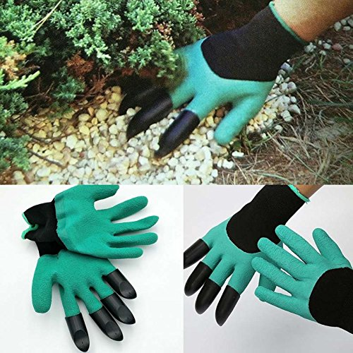 [Latex Garden Gloves for Digging & Planting with 4 ABS Plastic Claws gardening gloves] (Easy Goddess Costume)