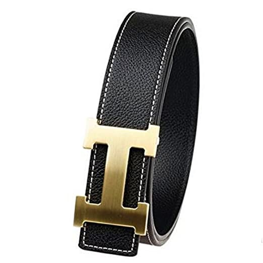 a80e14b428f Man s Fashion Alloy H Buckle Leather Belt at Amazon Men s Clothing ...