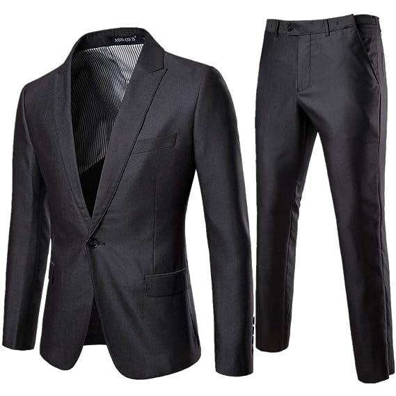 Traje de Hombre Chaqueta y pantalón de Vestir de Color Puro con ...
