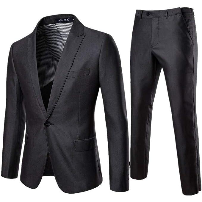SFE Mens Suit Slim Fit One Button 2-Piece Suit Blazer Dress ...