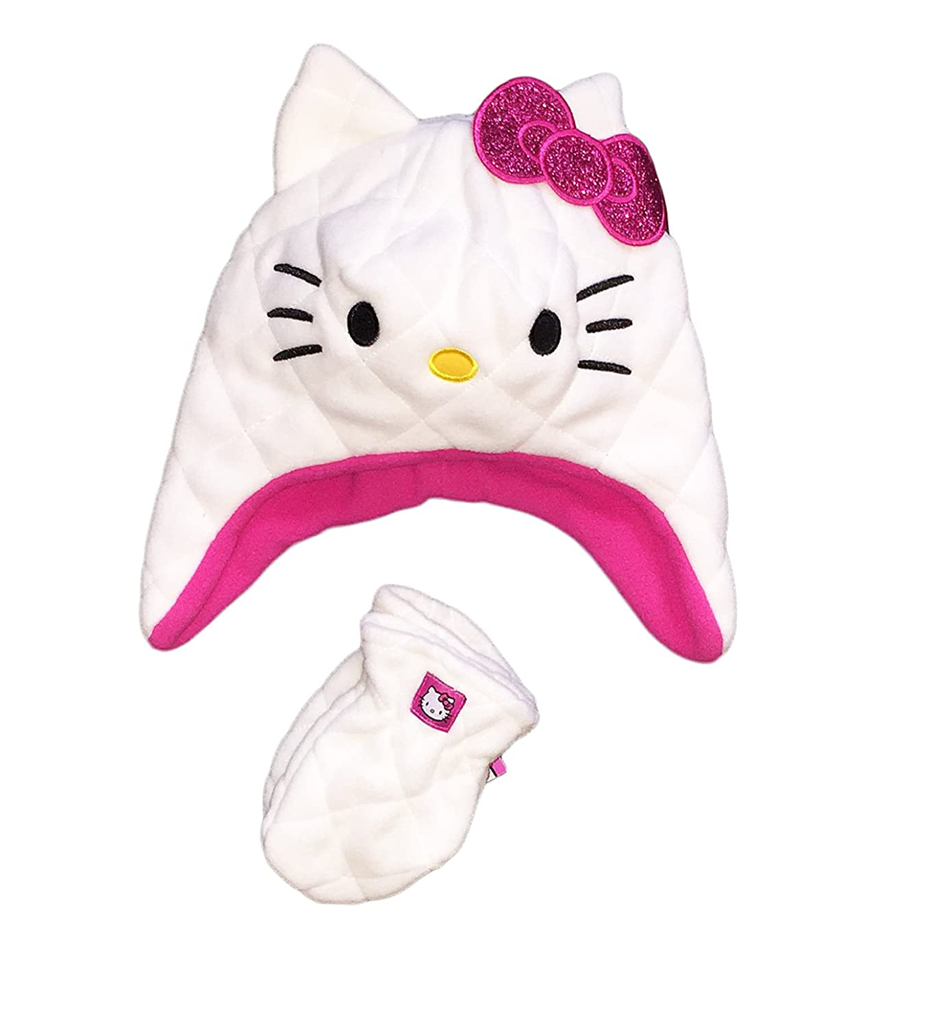 Hello Kitty Little Girls Toddler Plush Fleece Hat & Mitten Set,White,2T-5T