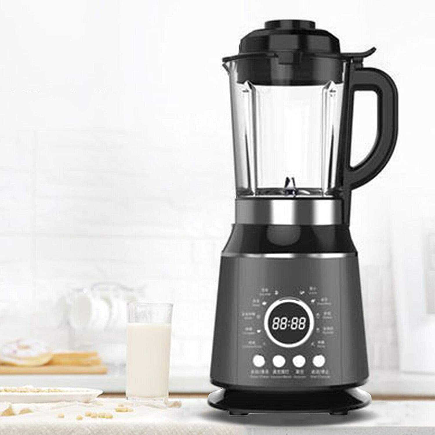 1000W Electric Countertop Heating Multifunctional Digital Professional Kitchen Smoothie Blender Capacity w/Heating Mixer 1.75L