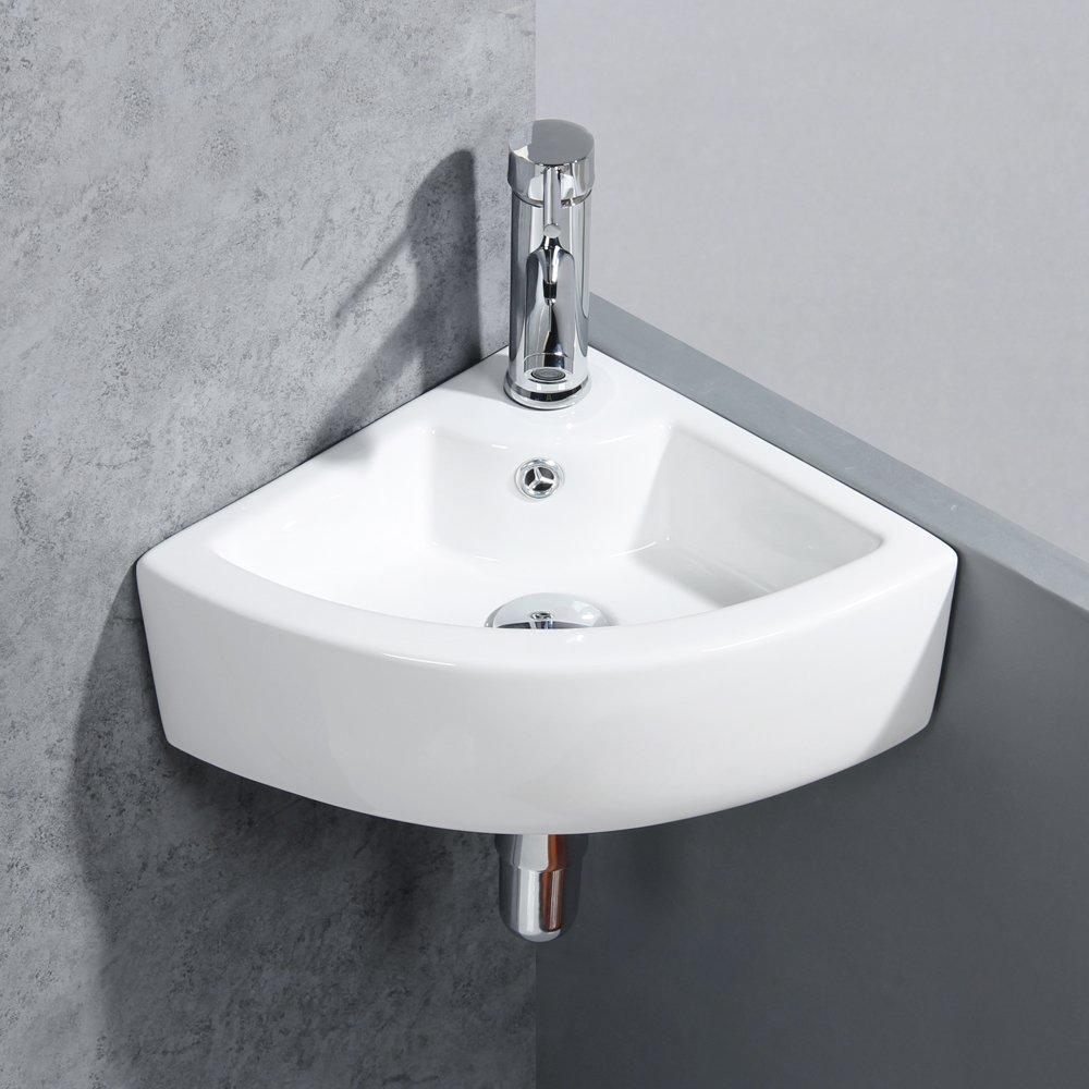 Gimify Mini Lavandino da Parete Piccolo Lavello per Bagno con Bacinella (Ovale 420 * 280 * 145mm) BS001O