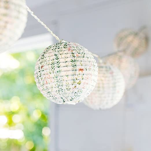 the best attitude 333f3 55926 10 LED Battery Operated Botanical Print Indoor Paper Lantern Fairy Lights