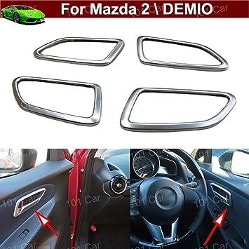 Yilaite - 2 embellecedores para espejo retrovisor de cromo ABS, ajuste personalizado para DEMIO 06
