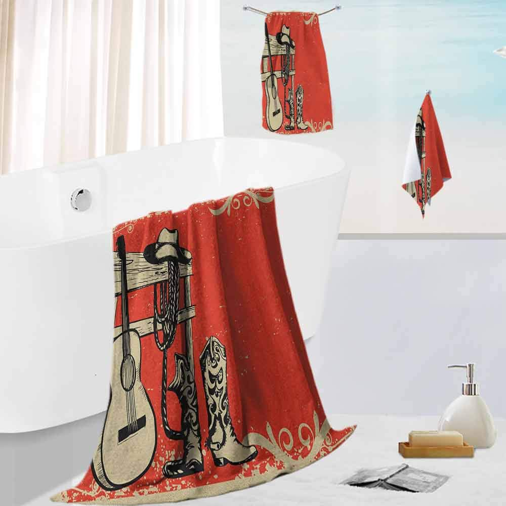 Western,Classic Luxury Bath Towel Set Image of Wild West Elements with Country Music Guitar and Cowboy Boots Retro Art Reasonable and Quick Dry Beige Orange by Leigh R. Avans