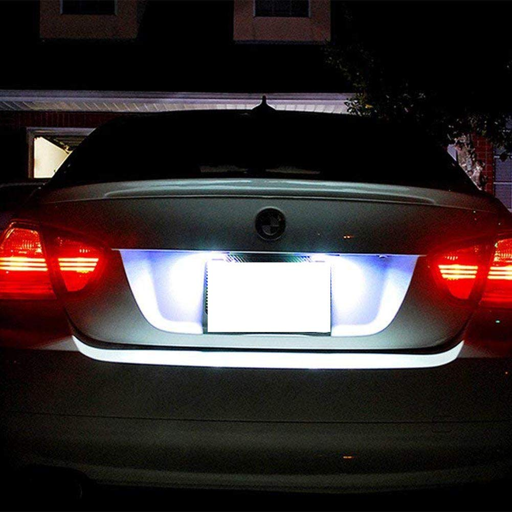 License Plate Light Powered by 24-SMD Error Free Xenon White LED Lights GemPro 2pcs LED License Plate Lamp Assembly for BMW 1 3 5 Series X1 X3 X5 X6 M3