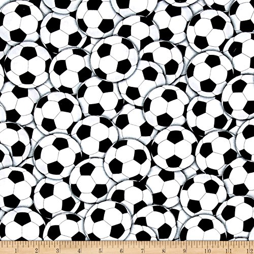 Timeless Treasures Packed Soccer Balls White Fabric By The (Soccer Ball Fabric)