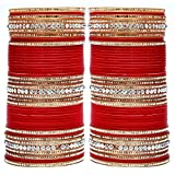 Lucky Jewellery Red Acrylic Bridal Punjabi Choora/Bangle Set Size Of 2.4 For Women