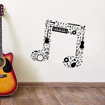 Nota musical Etiqueta de la pared Guitarra Saxofón Flauta Batería ...