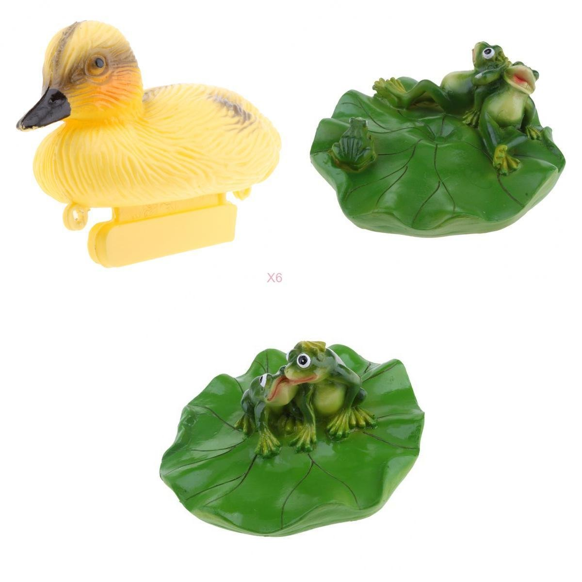 D DOLITY 8x Creative Animal Ornament Water Floating Duck Frog on Lotus Leaf Figurine Resin Green Plants Kid Toys Fountain Decoration Garden Decor