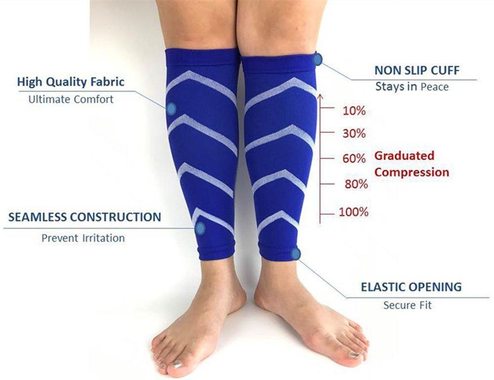 2 pares de mangas de compresión, para dolor de espinilla, pantorrillas, esguinces, recuperación deportiva - calcetines de pierna para hombres y mujeres ...