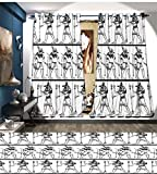 Cheap Davishouse Egyptian Window Curtain Fabric Hieroglyphics with Anubis Traditional Cultural Figure Mummy After Life Art Print Drapes For Living Room Black White