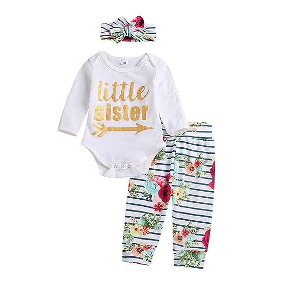 0bff3b4bcfc2 Newborn Baby Clothes Set 3PCS Letter Print Romper Jumpsuit Tops+Floral  Stripe Pants+Headbands Set Outfit  Amazon.co.uk  Clothing