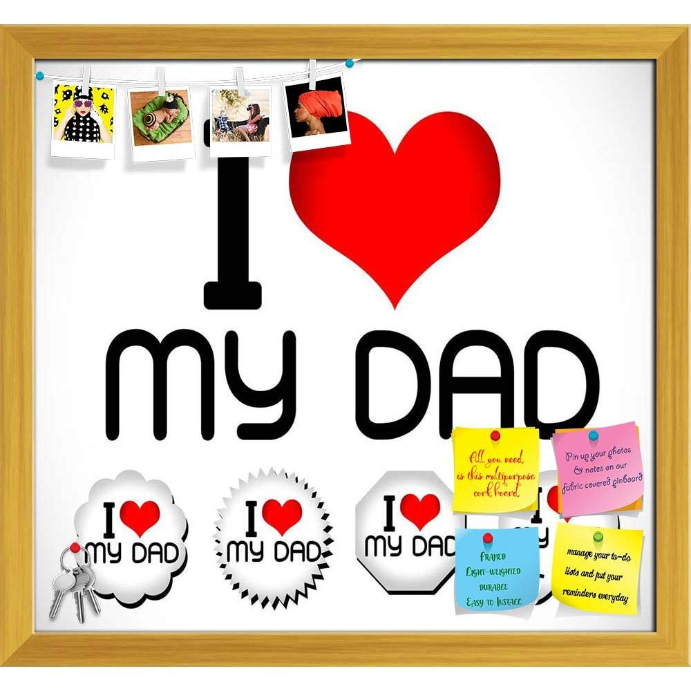 ArtzFolio I Love You Dad I Love You Mom Printed Bulletin Board Notice Pin Board cum Natural Brown Framed Painting 12.9 x 12inch