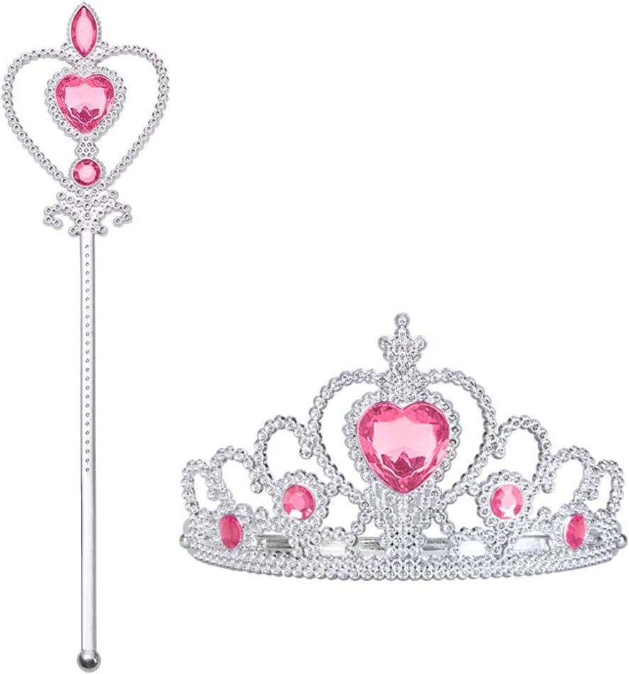 Vicloon Accesorios de Vestir Princesa: Corona, cetro. Cosplay, Carnaval Fiesta de cumpleaños Fiesta de Halloween (Rosa)