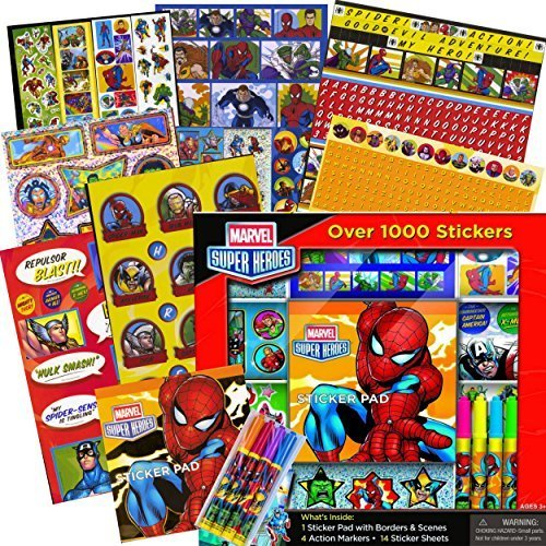 - Marvel Heroes Avengers Stickers Activity Set -- Over 1000 Stickers --- Avengers, Spiderman, Captain America, Thor, The Hulk and More!