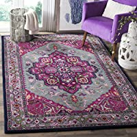 Safavieh Bellagio Collection BLG541B Grey and Pink Bohemian Medallion Premium Wool Area Rug (6 x 9)