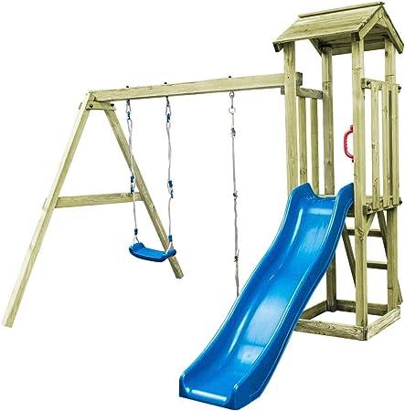 Tidyard Torre de juego con escalera, columpio, 251 x 242 x 218 cm, madera, madera, torre de juegos con deslizadores: Amazon.es: Hogar