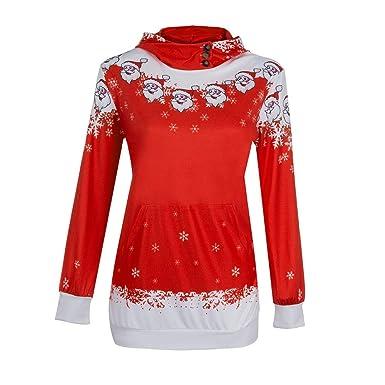 8ad5e21b26e Theshy Womens Christmas Santa Claus Snowflake Print Pocket Caps Tops  Sweatshirts Christmas Womens Tops at Amazon Women s Clothing store